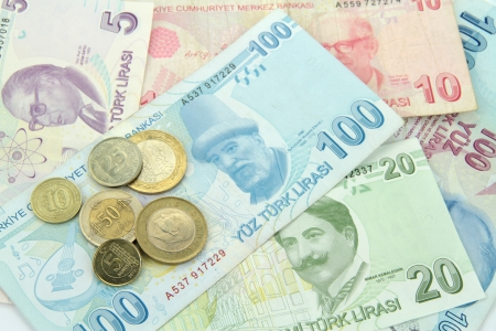 Turkish banknotes and coins  photo
