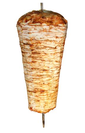 白で隔離されるトルコ鶏ドネルケバブ
