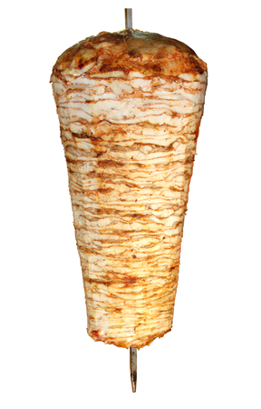 Turkish chicken doner kebab isolated on white 免版税图像
