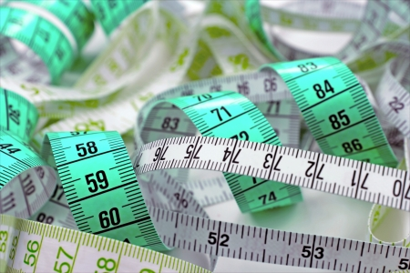 made to measure: Various tape measure Stock Photo