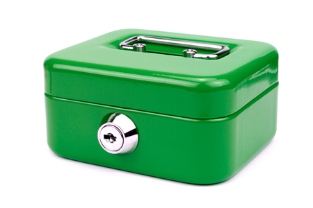 cash box: Green metal cash box  Stock Photo