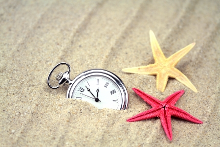 Pocket watch with star fish on the sand  photo