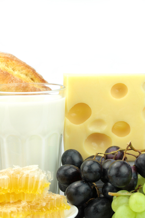 emmental: Various foods, on white background