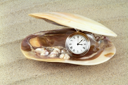 sea creatures: Pocket watch in a sea shell with real pearls