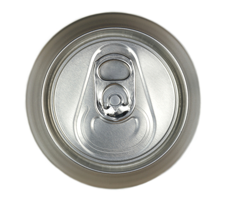 carbonated: Aluminum drink cans, top view image  Stock Photo