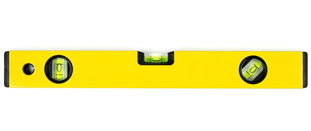 Yellow spirit level isolated on white background