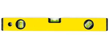 water level: Yellow spirit level isolated on white background