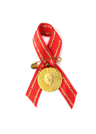 Turkish traditional coins with red ribbon Quarter and half gold,