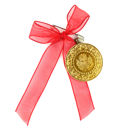 old quarter: Turkish traditional coins with red ribbon  Quarter  and half gold,