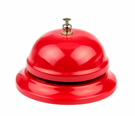 Red service bell on white background   Archivio Fotografico