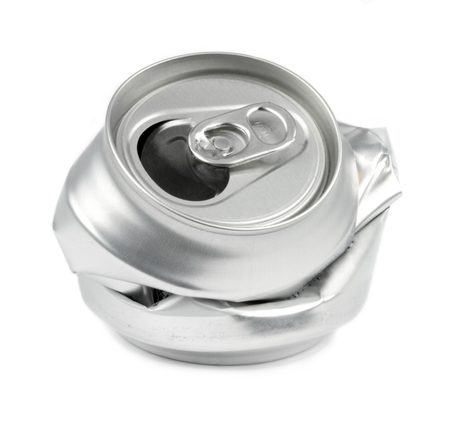 crushed aluminum cans: Crushed drink cans on white background