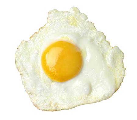 Gebakken ei op een witte achtergrond