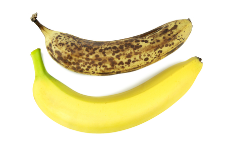 ripening: Old and fresh banana on white background  Stock Photo