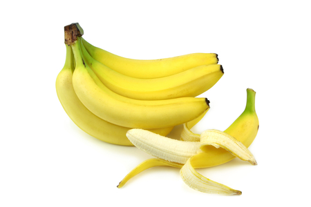 Bananas and peeled banana isolated on white background
