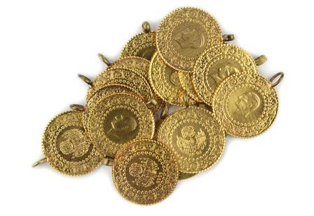 monete antiche: Monete d'oro monete d'oro turche su sfondo bianco Archivio Fotografico