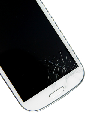 portable failure: Broken screen smart phone isolated on white  Stock Photo