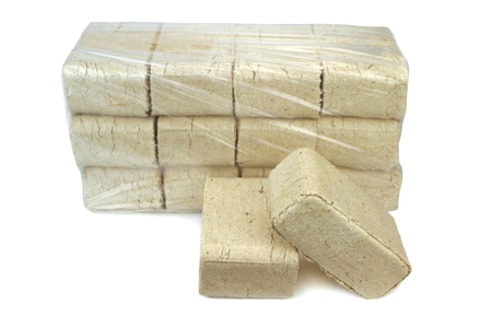 briquettes: wood briquettes isolated on white background  Stock Photo