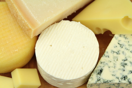 sliced cheese: Various cheeses Stock Photo