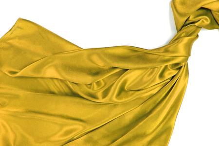Yellow rippling silk fabric photo