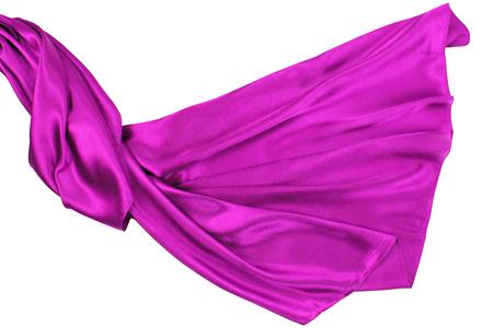 purple silk: Purple rippling silk fabric on white background