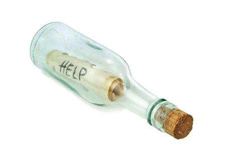 Boodschap in een fles, close-up beeld