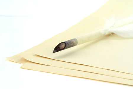 Quill pen on papers photo