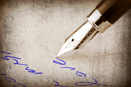 fountain pen writing: Fountain pen writing on the paper, and old photographic effect, Stock Photo