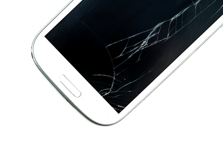 portable failure: Broken screen smart phone on white background