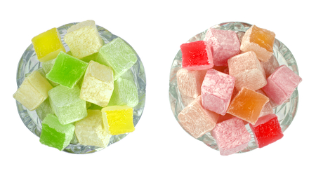 turkish delight: Turkish Delight in glass bowls on white background  Top view