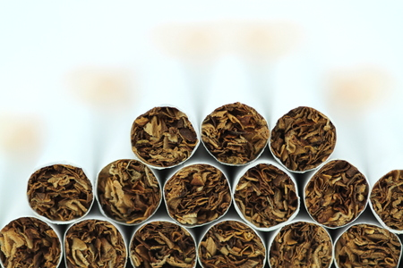 Cigarettes Macro image. Stock Photo