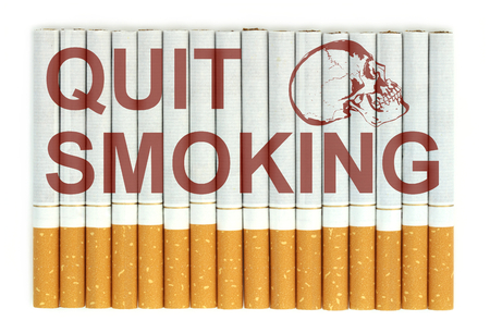 quit: Quit smoking word on cigarettes