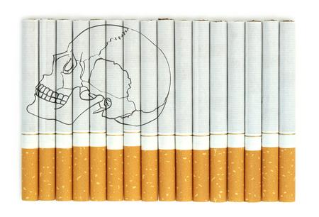Smoking kills, Conceptual image with skull on cigarettes Stock Photo