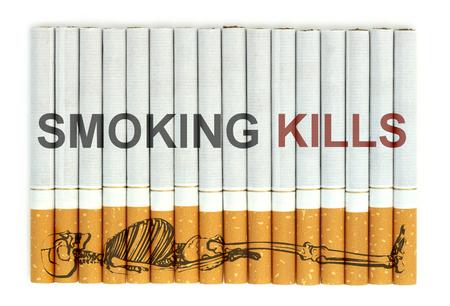 smoking kills: Smoking kills word on cigarettes Stock Photo