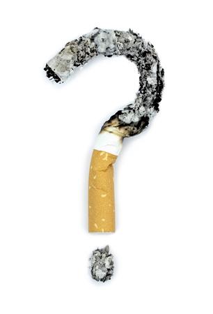 Fragezeichen mit verbrannt Zigaretten Standard-Bild