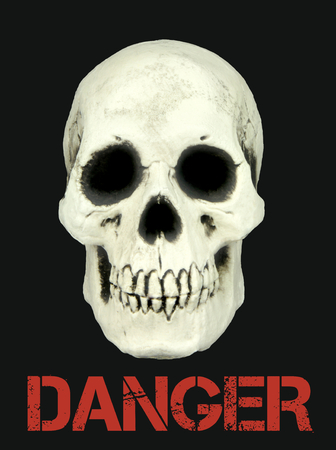 mortal danger: Human skull isolated on black background with the sample text danger Stock Photo