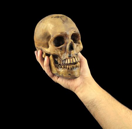 人間の頭蓋骨を手に保持しています。概念的なイメージ。(Shakespeare
