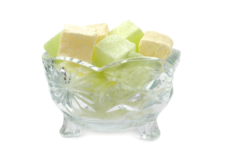 turkish delight: Turkish Delight in glass bowl on white background.