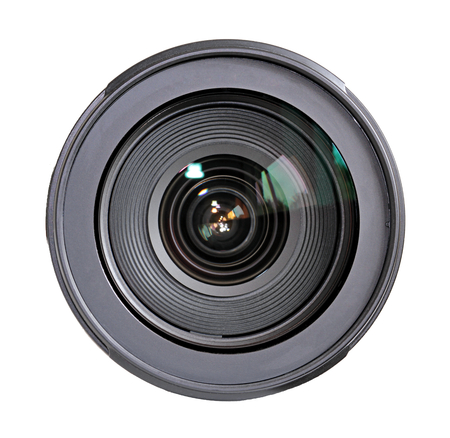 Camera lens isolated on white background. 免版税图像