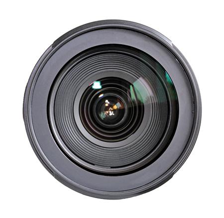 Cameralens geïsoleerd op witte achtergrond.