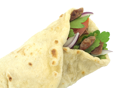 Traditional Turkish wrap roll bread. Durum doner kebab.