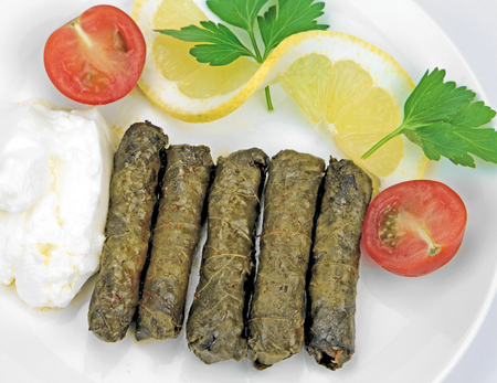 traditinal: Turkish cuisine. Homemade Sarma - Rice wrapped in vine leaves