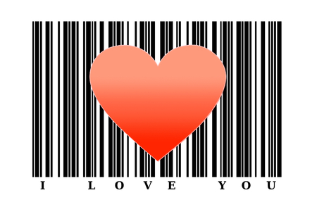 Red heart shape on barcode. Love concept. photo