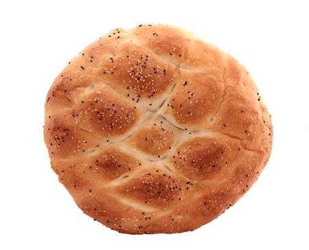 turkish bread: Turkish ramadan pita bread, isolated on white Stock Photo