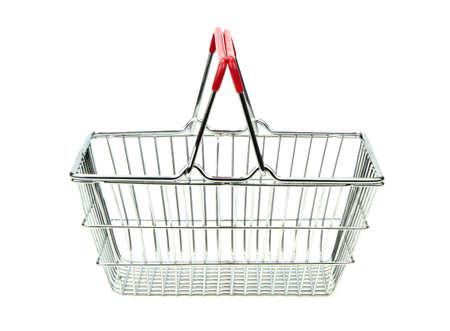 empty basket: Shopping cart isolated on white background.