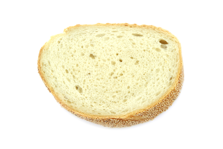pone: Wheat bread slice isolated on white background.
