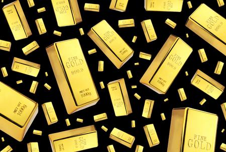 ingots: Gold bars rain on black background