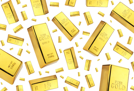 Gold bars rain on white background
