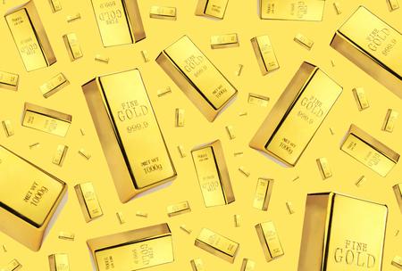 ingots: Gold bars rain on golden background