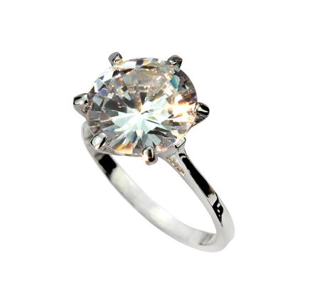 platinum wedding ring: Diamond solitaire ring isolated on white black background