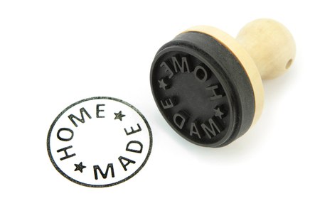 stempel: Rubber stamp with \ HOME MADE \ text on white